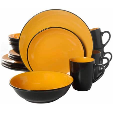 Walmart: Gibson Home 16-Piece Kada Dinnerware Set $27.35 Yellow/Black Only + Free Store Pick Up
