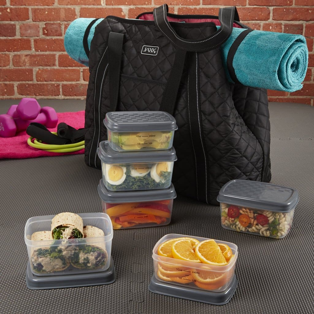 Fit & Fresh Jaxx Quilted FitPak Meal Prep Yoga Bag with 12-Pc Portion Control Container Set $20 + Free S/H