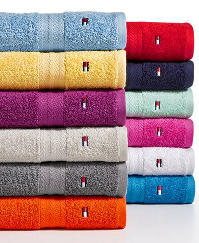 Tommy Hilfiger All American II Cotton Bath Towel $5, Hand Towel $3 & More, Various colors + free shipping on $25