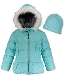 Macy's Girls WeatherTamer Hooded Puffer Jacket & Hat $15.99 + Free Store Pick Up, Various Colors & Size