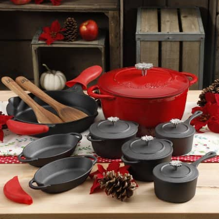 The Pioneer Woman Timeless 18-Piece Red Cast Iron Essential Set $79 + Free S/H Red or Turquoise