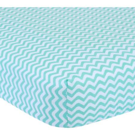 Walmart: Garanimals Chevron Wave Fitted Crib Sheet 100% Cotton $3.42 White/Mint only + Free store pick up