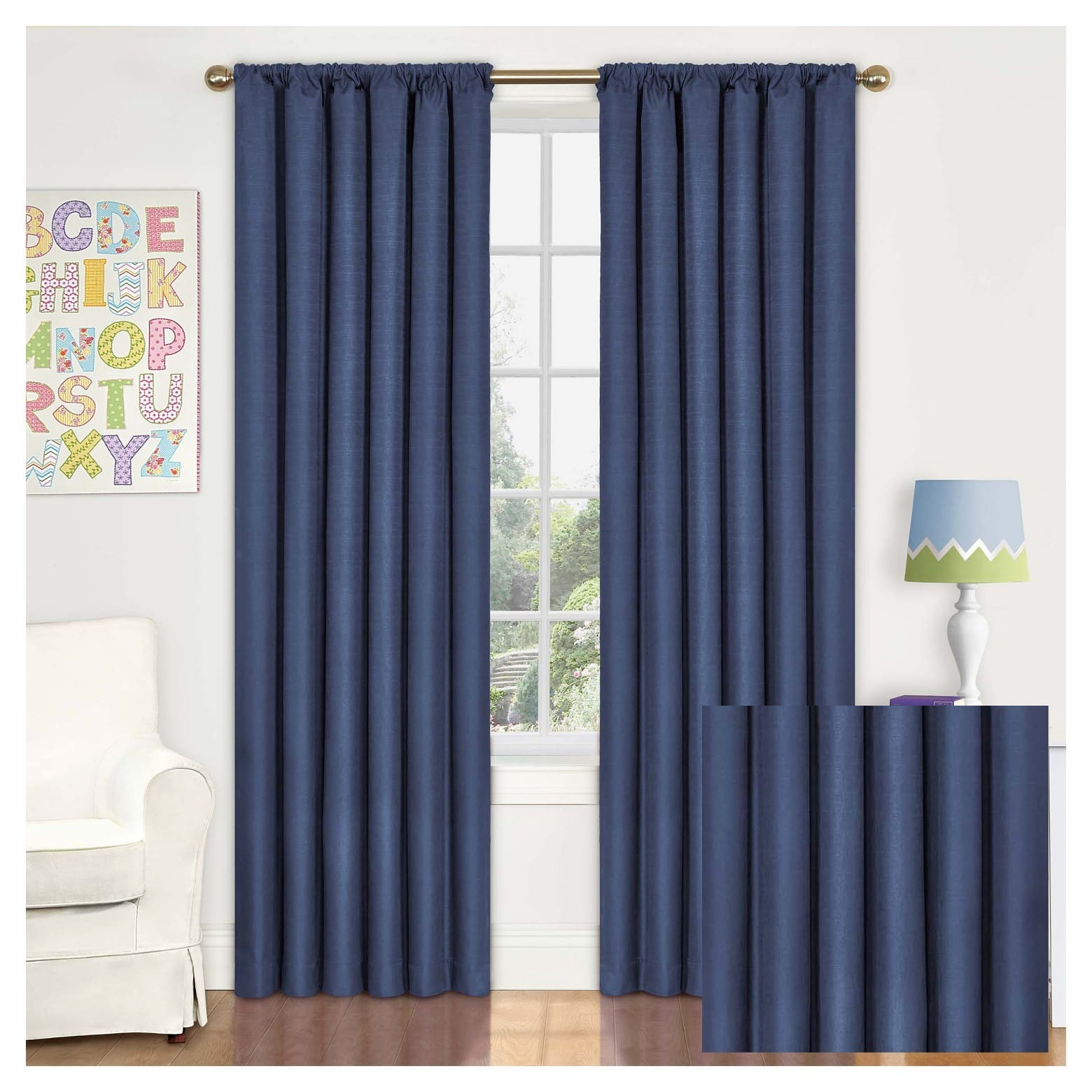 "Eclipse MyScene Kendall Thermaback Denim 42"" x 84"" Curtain Panel $5.33 ea + Free S/H"