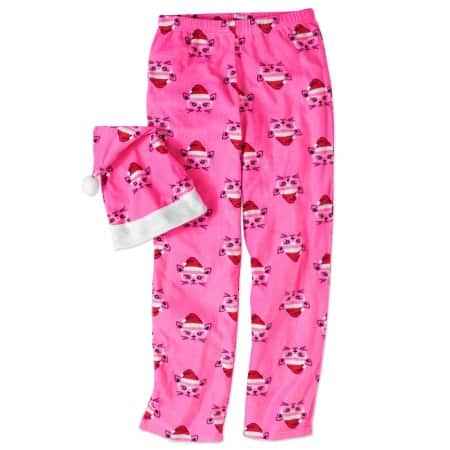 Walmart: Women's Fleece PJ Pant w/ Santa Hat - Med & Lg only $3 (Pink or Red)+ Free Store Pick Up