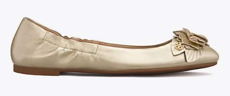 Tory Burch Ballet Flats $104.30, Spark Gold Leather or Spice Plum Satin, Two Way Embellished Ballet Flat $97.30 Silver or Blush & More + Free Shipping