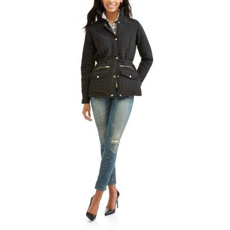 ea77d64fd695 Walmart  Women s Jason Maxwell Women s Shirred Waist Zipped Collar ...