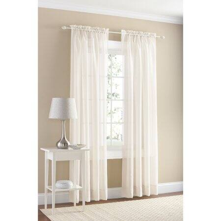 """Walmart: Mainstays Set of 2 Marjorie Solid Voile Curtain Panels $5, 59""""x63"""" or 59""""x84"""" + free store pick up"""