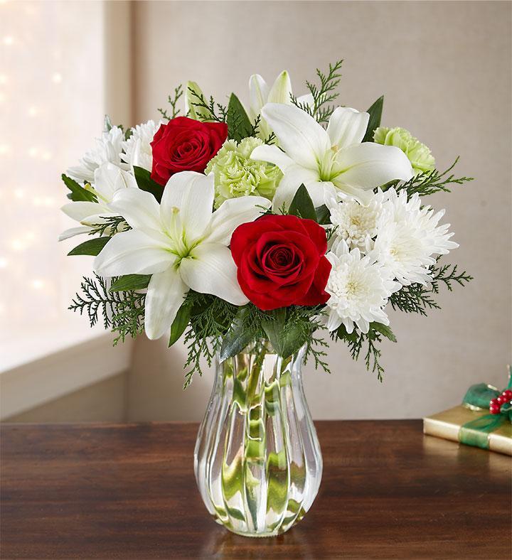 Florists.com Red Roses, White Cushion Poms & White Asiatic Lilies Arrangement + Vase $30.99 + Free S/H