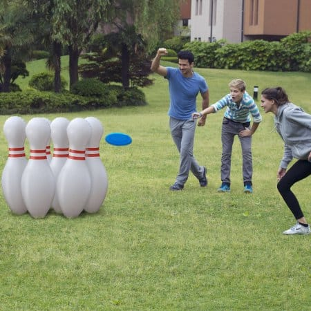 """Walmart: Jumbo Lawn Bowling, Set of Six 36"""" Inflatable Pins with Two Flying Discs $5 + store pick up"""