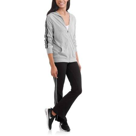 Walmart: Women's Active Sporty Striped Full Zip Hoodie and Pant Tracksuit $5.50 Heather Grey + store pick up