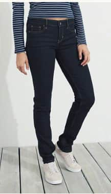 Hollister Girls Low or High Rise Skinny Jeans or Men's Epic Flex Slim Straight Jeans 2 for $30 & More + free store pick up