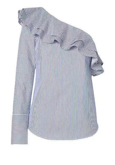 Banana Republic Extra 50% Off Sale Items, Women's Stripe One Shoulder Ruffle Top $11.50, One shoulder Ruffle Shirt Dress $14.50 & More + Free S/H $50+
