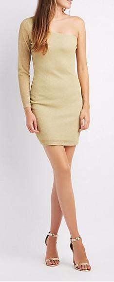 Charlotte Russe One Shoulder Gold Bodycon Dress $5.99, One Shoulder Velvet Gown $6.99 & More + Free S/H