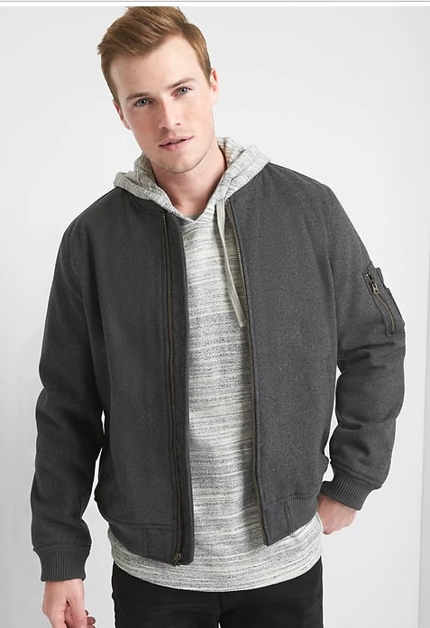 Gap Men's Wool Blend Vintage Bomber Jacket (Charcoal Heather)  $34.99 + Free Shipping
