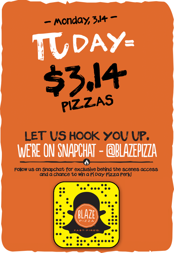 """Blaze Pizza Upcoming Promotion: 10"""" Pizza $3.14, Wednesday, March 14th Only"""