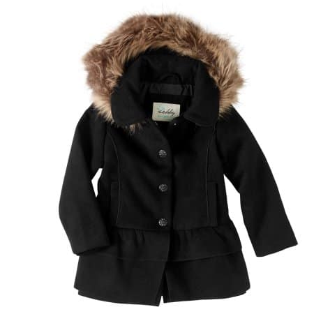 Walmart:Sebby Baby Toddler Girl Fleece Ruffle Tiered Coat with Faux Fur Hood - Black or Pink (12m-5T) $5 + store pick up $5