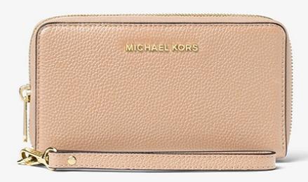 MICHAEL Michael Kors Mercer Large Leather Smartphone Wristlet - Oyster or Orange $40.50 & More + Free S/H KORSVIP