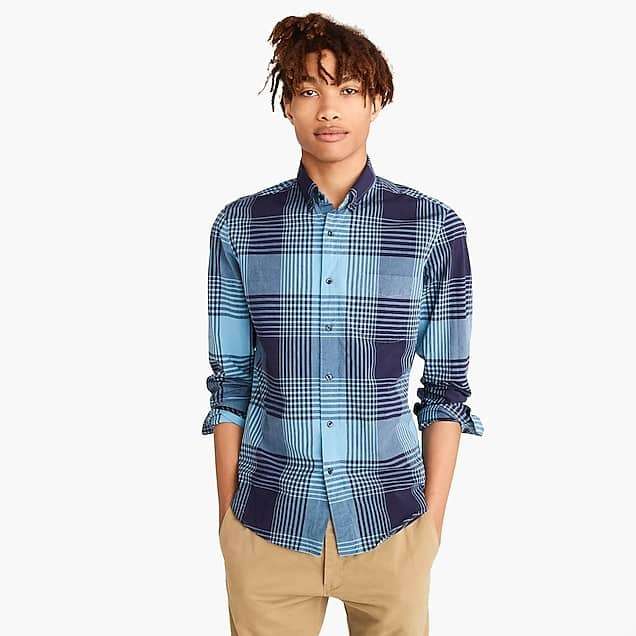 J. Crew Clearance: Men's Bold Plaid Stretch Secret Wash Shirt $9.99 & More + Free S/H Today Only