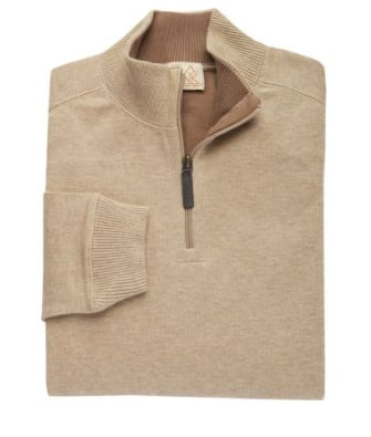 Jos A Bank Men's 100% Cotton 1/4 Zip Mock Neck Sweater $12.48, Executive Collection 3/4 Traditional Fit Car Coat $34.99 & More + Free S/H Rewards Members