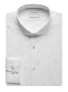 Men's Wearhouse: Calvin Klein Slim Fit No Iron Camo Dress Shirt $9.99 - White or Black  + Free S/H Rewards Members