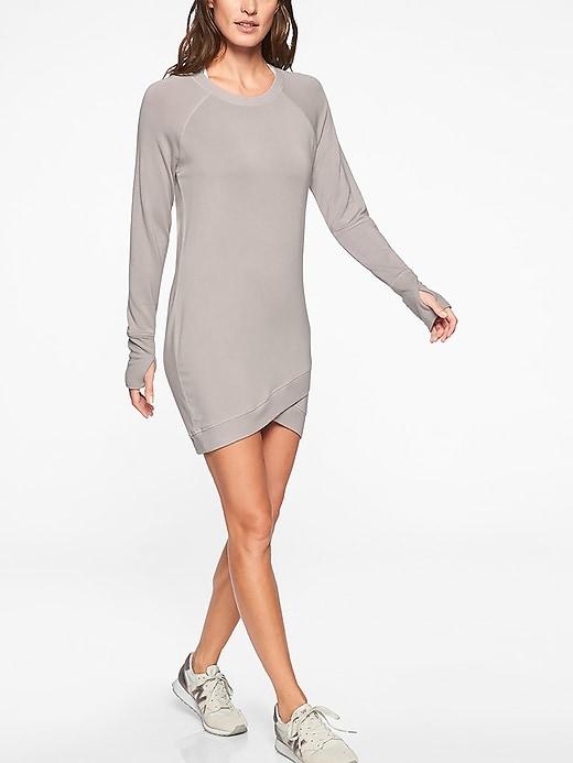 Athleta Semi Annual Sale: Criss Cross Sweatshirt Dress $21.99, Cloud Sweater Dress $27.97 & More + Free S/H $50+