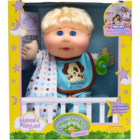 "Walmart: Cabbage Patch Kids 12.5"" Naptime Babies Doll, Blonde Hair Blue Eye Boy $10.01 + Free store pick up"