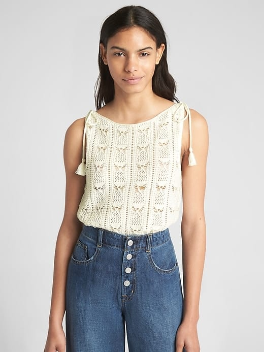 Gap Coupon: 50% Off Select Sale Apparel: Women's Crochet Tie Tank Top $6.50, Baby Girl Pull On Bubble Shorts $2.48 & Lots More + F/S $50+