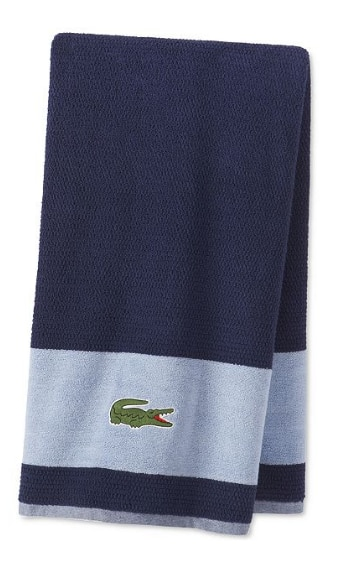 Macy's Lacoste Match Cotton Colorblock Bath Towel or Lacoste Legend Supima Cotton Bath Towel 3 for $39.97 + Free store pick up