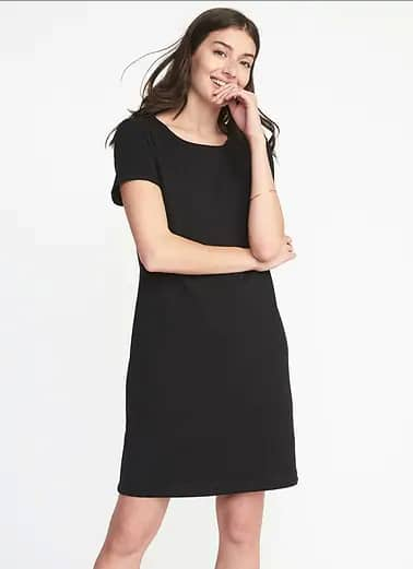 6954bdb595af Old Navy Women s Black Slub-Knit Tee Dress  6.98