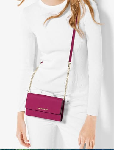 1a40b6d73f0c MICHAEL MICHAEL KORS Deep PInk or Pale Gold Jet Set Saffiano Leather  Smartphone Crossbody  63 (complimentary monogram)   More Free S H VIP  Members