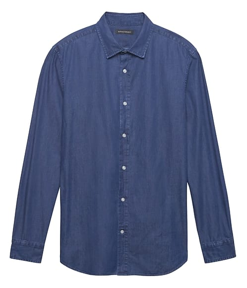 c757143632c Banana Republic Clearance Men s Chambray Blue Grant Slim Fit Shirt  12.80