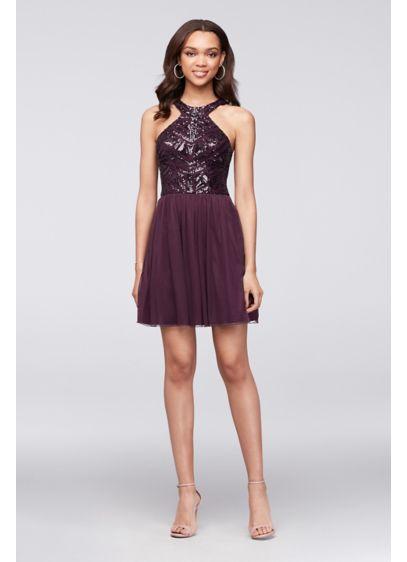f29939ec2fc David s Bridal Prom Semi Dresses  Geometric Sequin   Mesh Dress  39.99