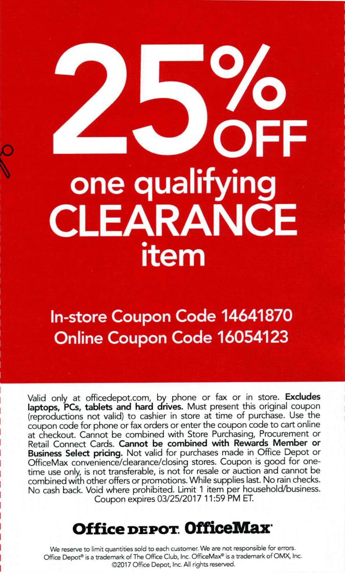 Office depot rewards coupons - Officemax Office Depot 25 Off One Qualifying Clearance Item Good Until 03 25 2017 Online Slickdeals Net