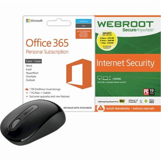 Office 365 Personal + Mouse + Webroot 1yr - In-Store Only $34.99