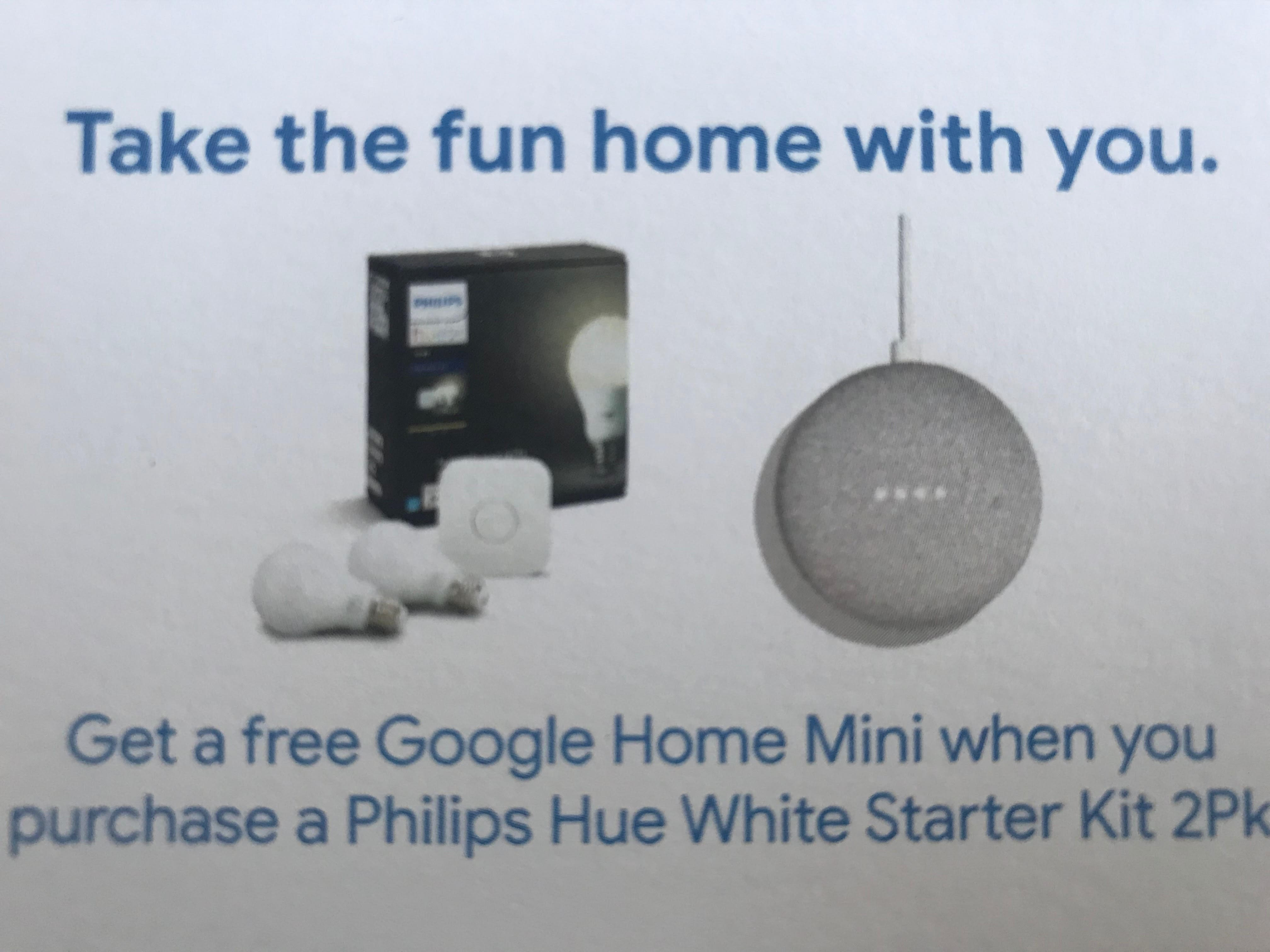 Google Home Mini with Philips Hue White Starter Kit $70