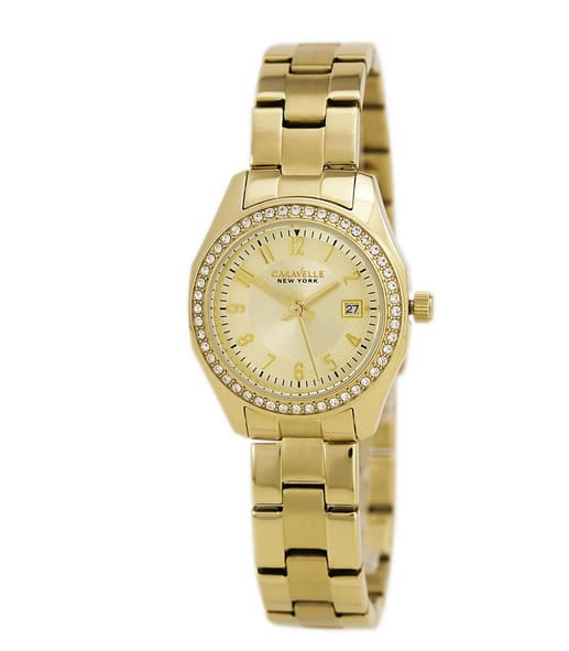 Caravelle 44M108 Women's Yellow Steel Bracelet Quartz Crystal Gold Tone Dial Watch for Womens $29.99 @mygiftstop