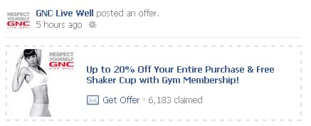 free GNC gold card and shaker cup if you have gym membership facebook required