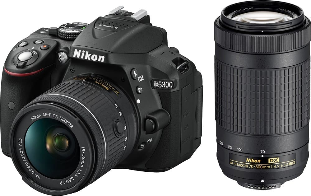 Nikon D5300 DSLR Camera with 18-55mm and 70-300mm Lenses $599.99 w/ free 32GB SD card and free S/H @BestBuy
