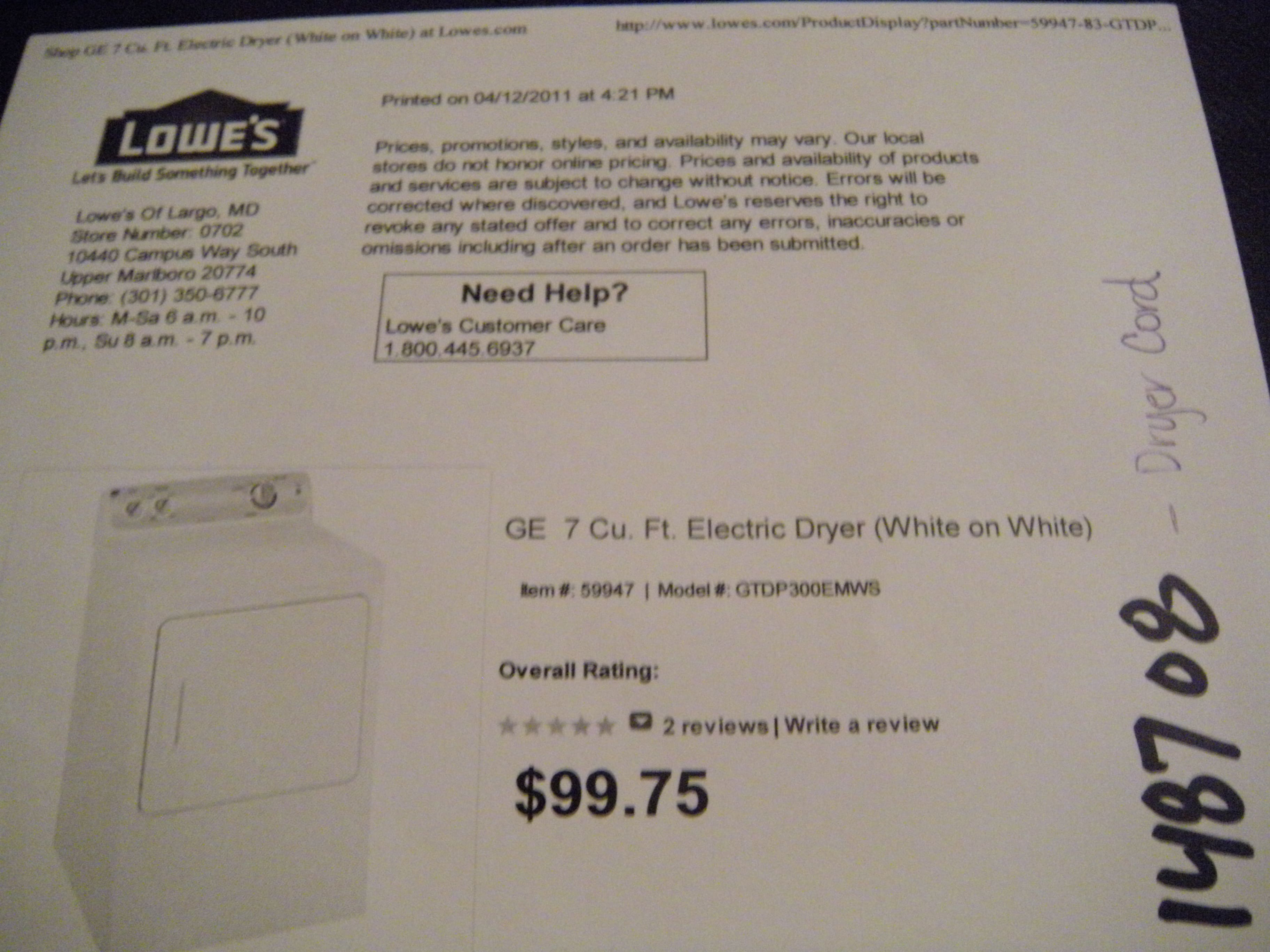 GE Electric Dryer VERY CHEAP @ LOWES $89.78!!! YMMV