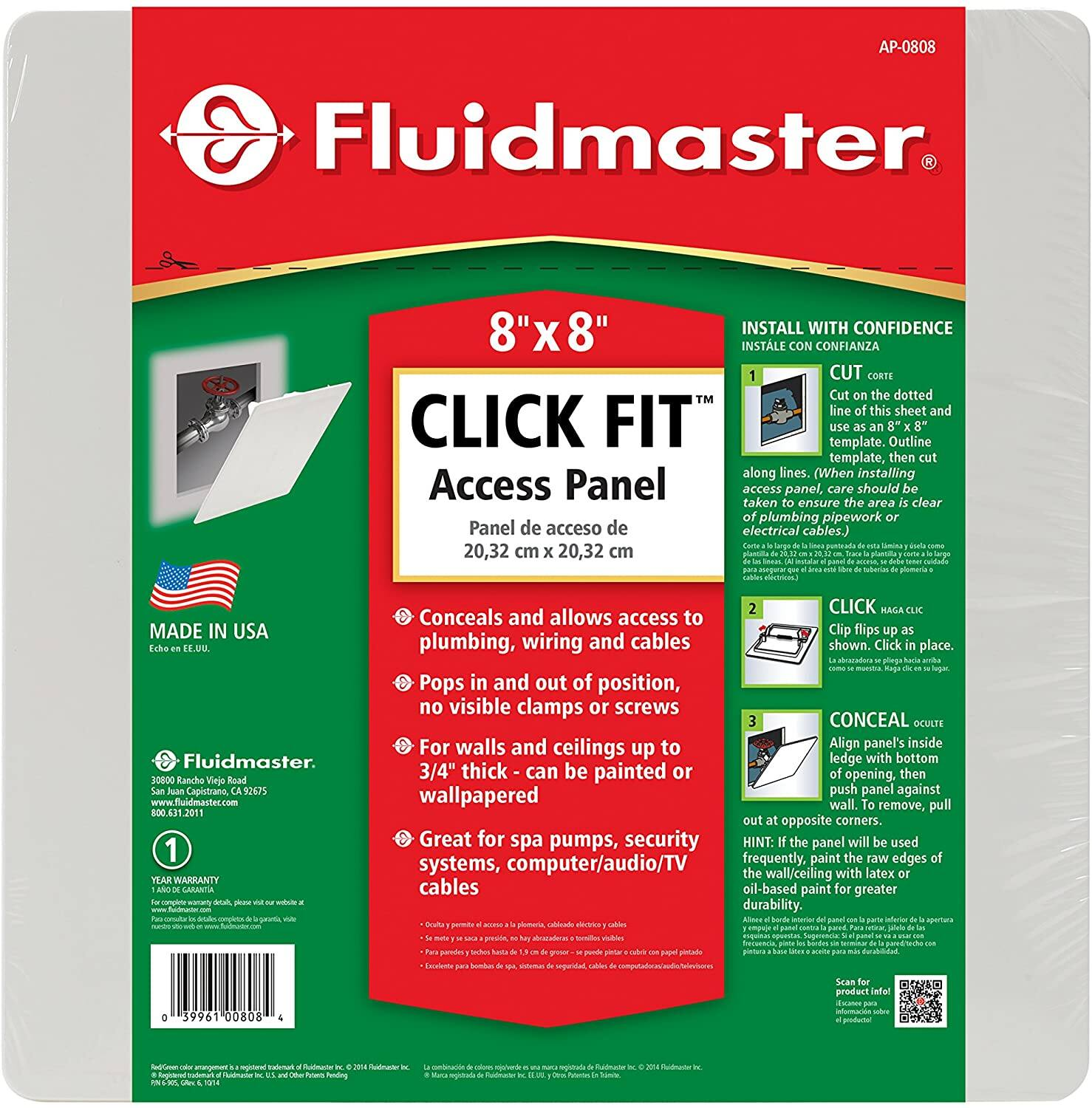 "Fluidmaster Click Fit Access Panel 8"" x8"" $1.95"