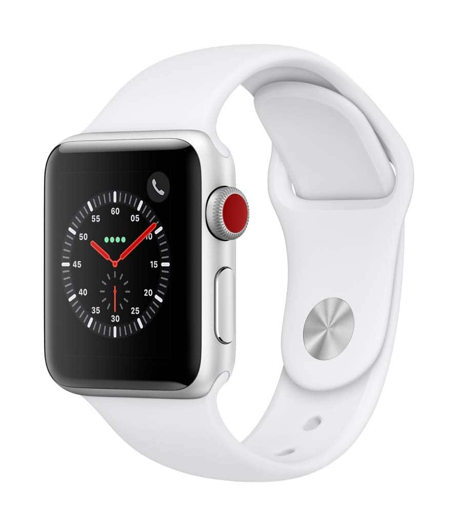 Apple Watch Series 3 (GPS + Cellular, 38mm) - Silver Aluminium Case with White Sport Band, $229
