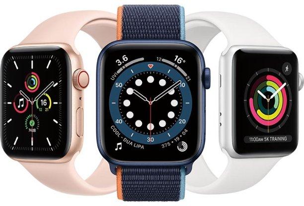Apple Watch Series 6 (GPS) Aluminum 40mm $379, 44mm $409