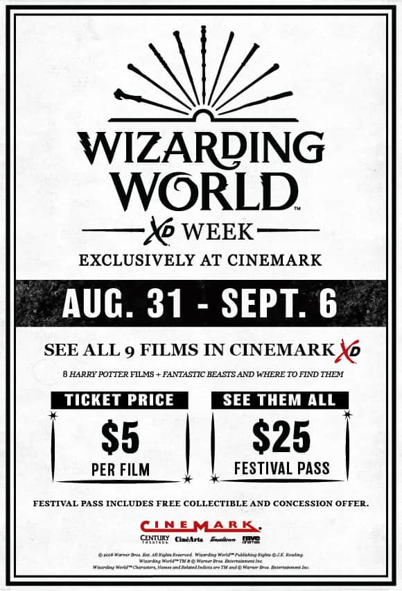 Harry Potter All 9 Movies in Cinemark XD $25