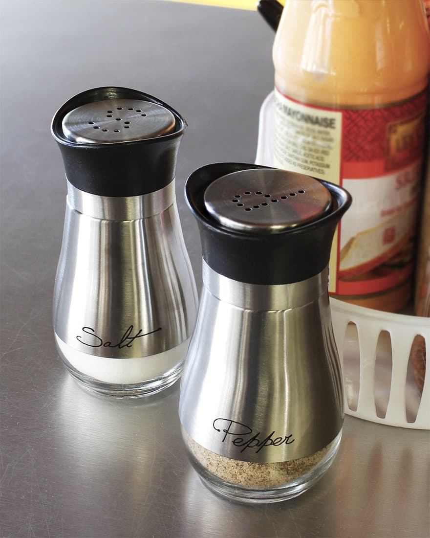 Salt and Pepper Shakers Stainless Steel and Glass Set @ Amazon $8.85 no coupon required.