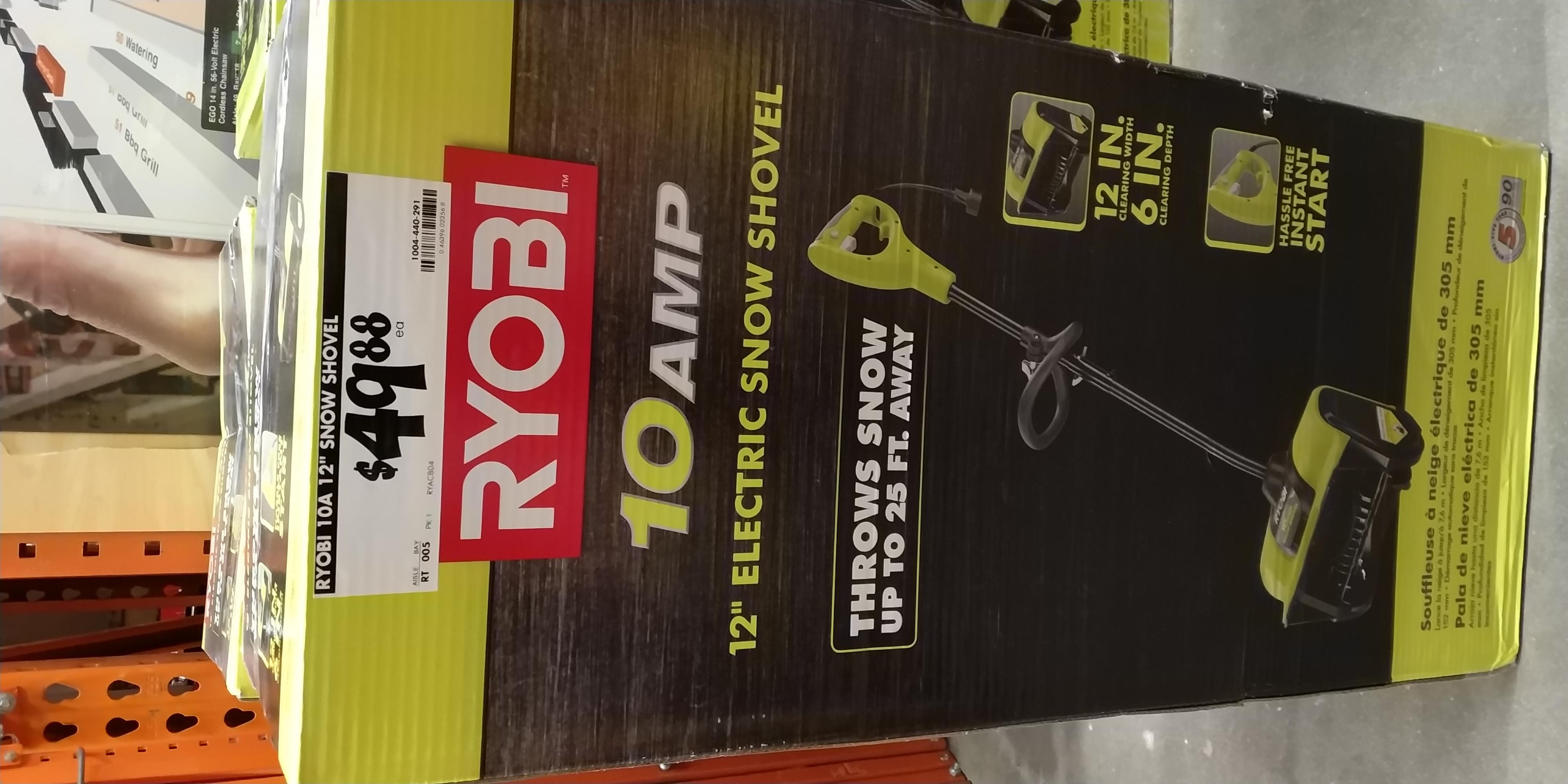 Ryobi 12 inch Electric Snow Shovel - $49.88 @ Home Depot
