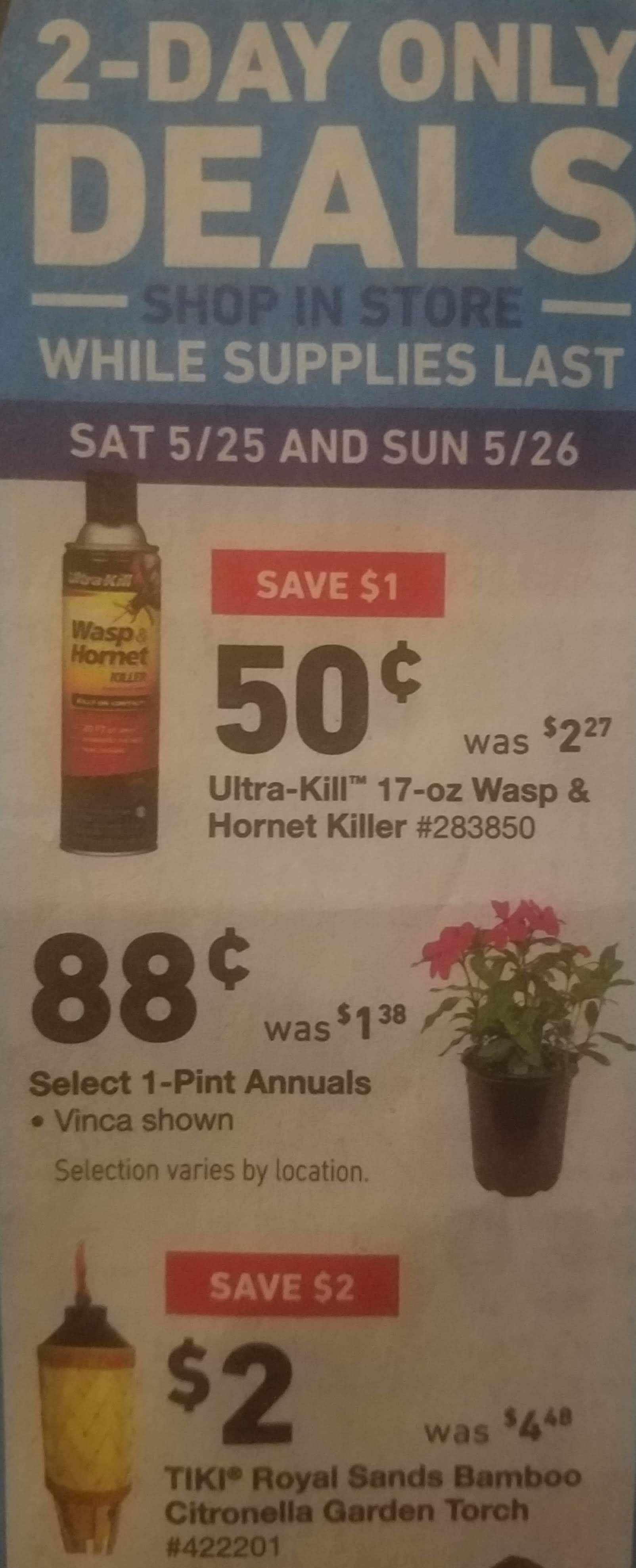 Lowe's Memorial Day 2-Day Only Deals $0.50-$69.00