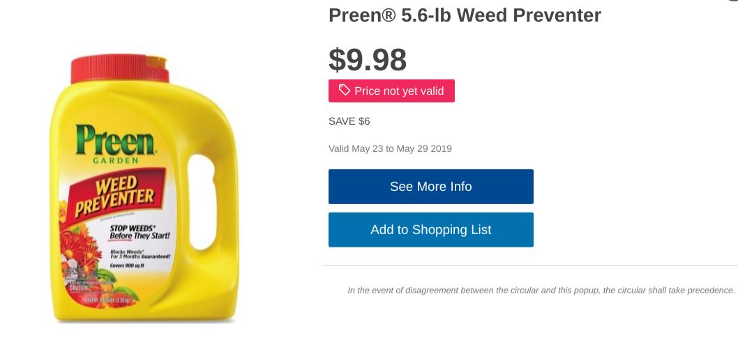Preen 5.6-lb Herbicide Valid May 23 to May 29 2019 $9.98