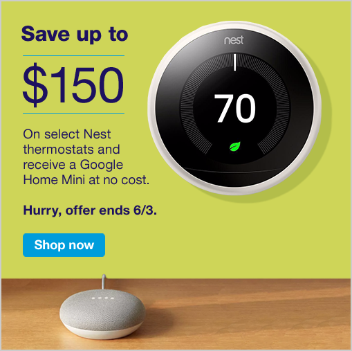 MA utility customers - $150 off nest thermostat and free google home mini