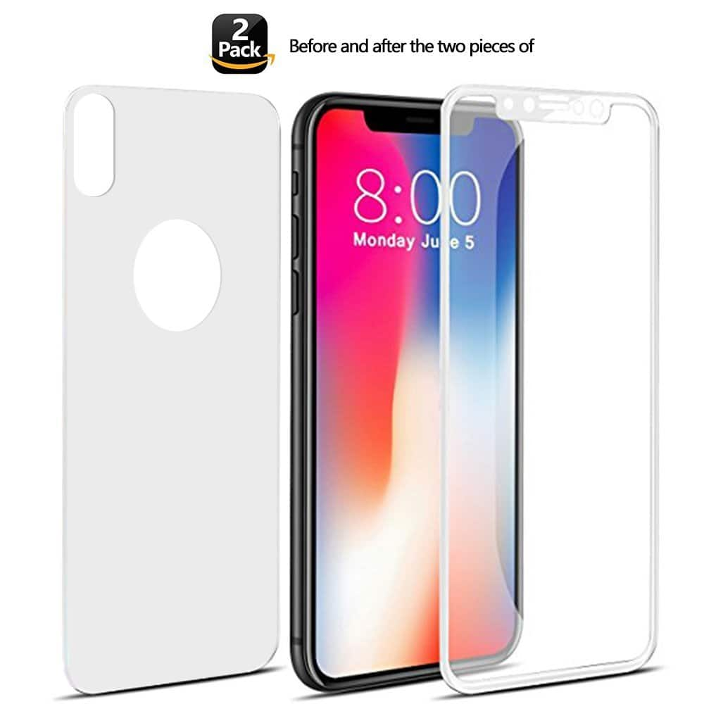 iPhone X, 7, 8, 7 Plus, 8 Plus double sides (front and back) Glass Screen Protector for $4.99 on Amazon Free Prime shipping