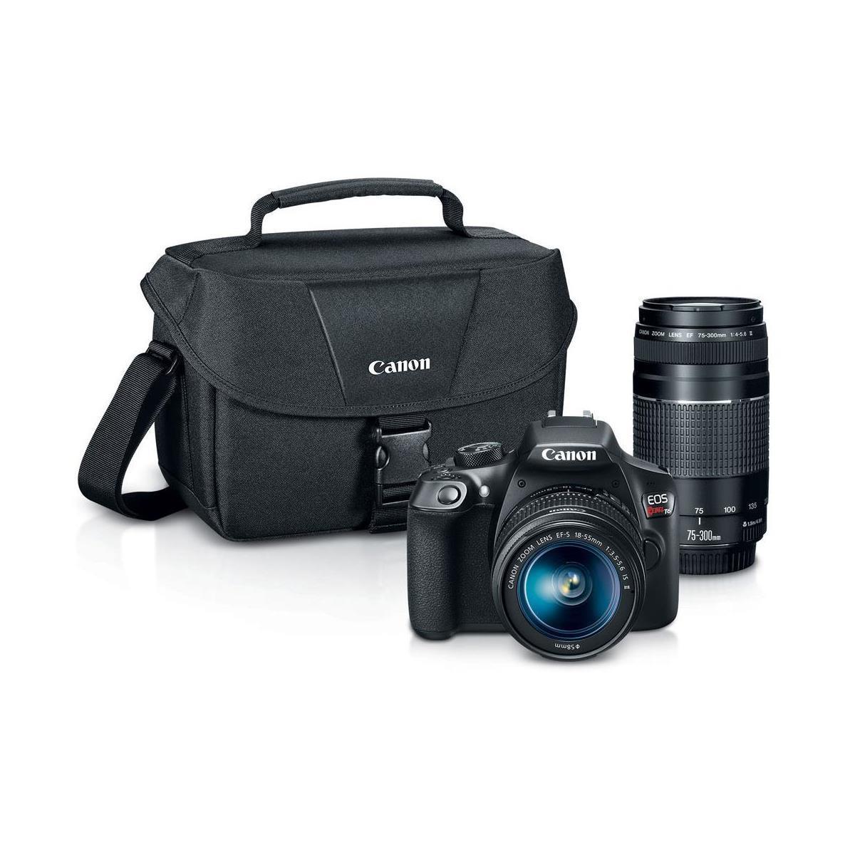 Canon EOS Rebel T6 DSLR 2 Lens Camera Kit with Promo Printer Bundle-$350